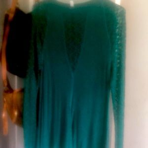 Free People emerald green long sleeve lace top